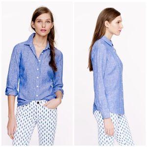 J. Crew Blue Perfect Shirt In Crosshatch Linen